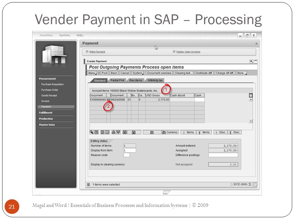 Vender Payment in SAP – Processing Magal and Word .