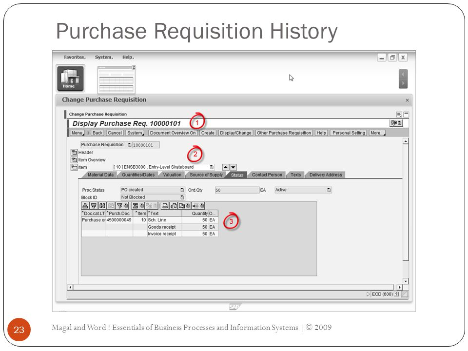 Purchase Requisition History Magal and Word .