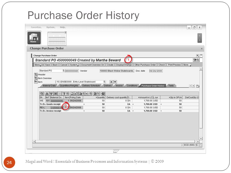 Purchase Order History Magal and Word .
