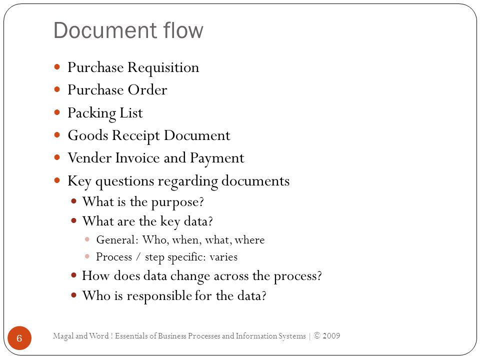 Document flow Magal and Word .