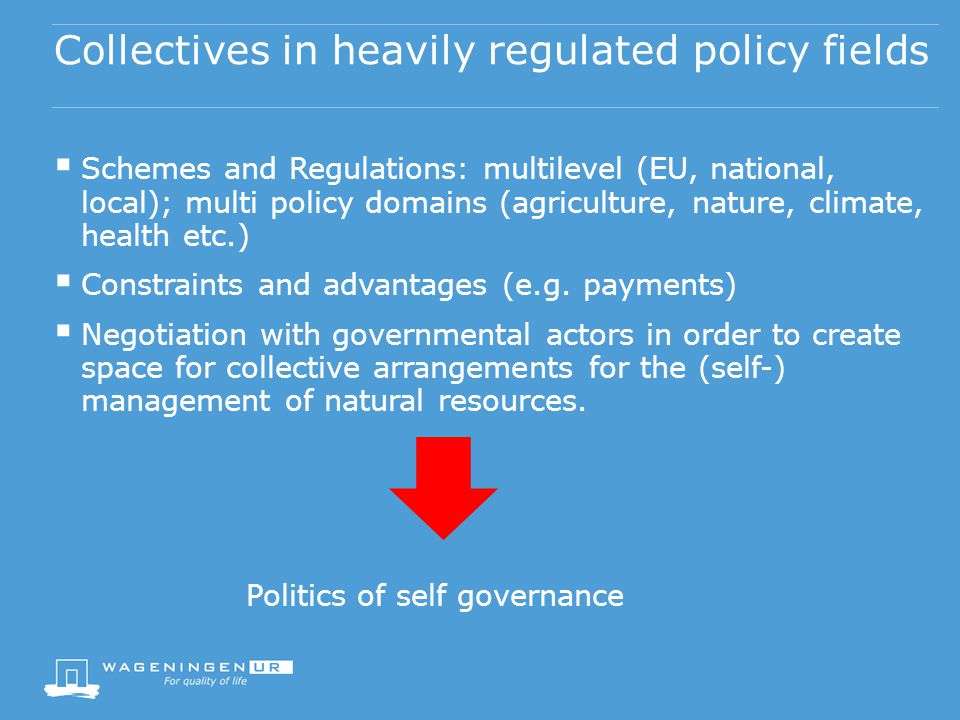 Collectives in heavily regulated policy fields Schemes and Regulations: multilevel (EU, national, local); multi policy domains (agriculture, nature, c