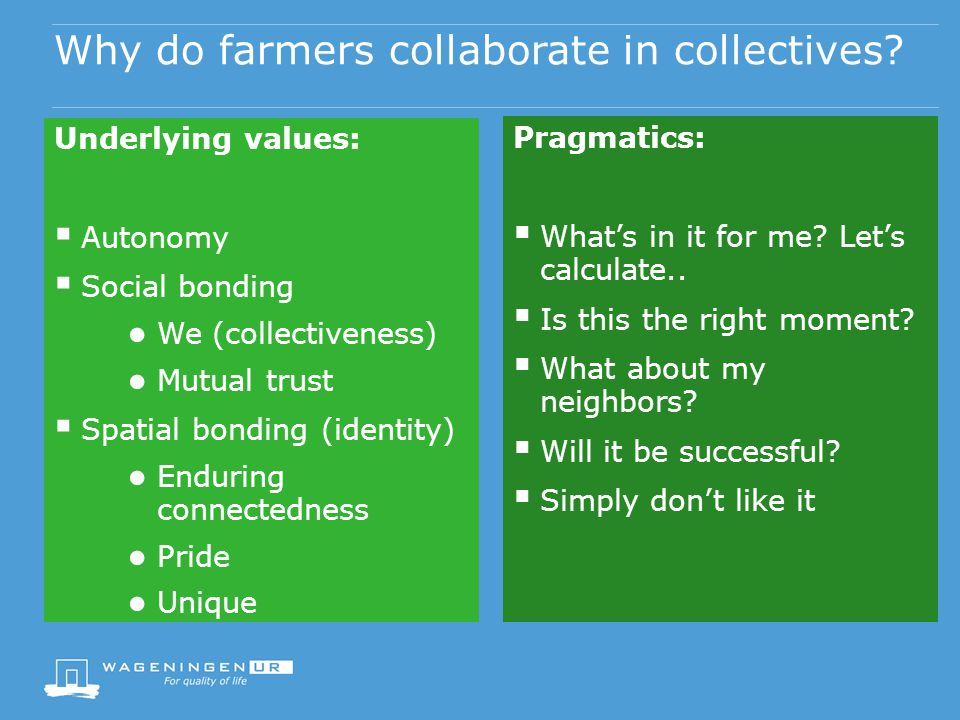Why do farmers collaborate in collectives? Underlying values: Autonomy Social bonding We (collectiveness) Mutual trust Spatial bonding (identity) Endu