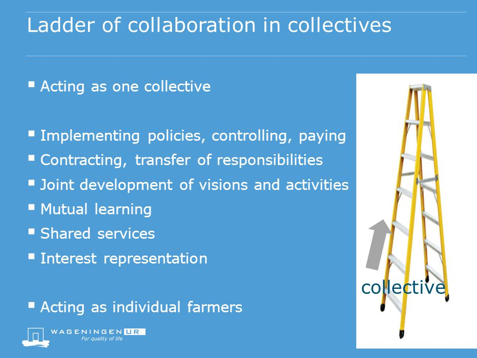 Ladder of collaboration in collectives Acting as one collective Implementing policies, controlling, paying Contracting, transfer of responsibilities Joint development of visions and activities Mutual learning Shared services Interest representation Acting as individual farmers collective