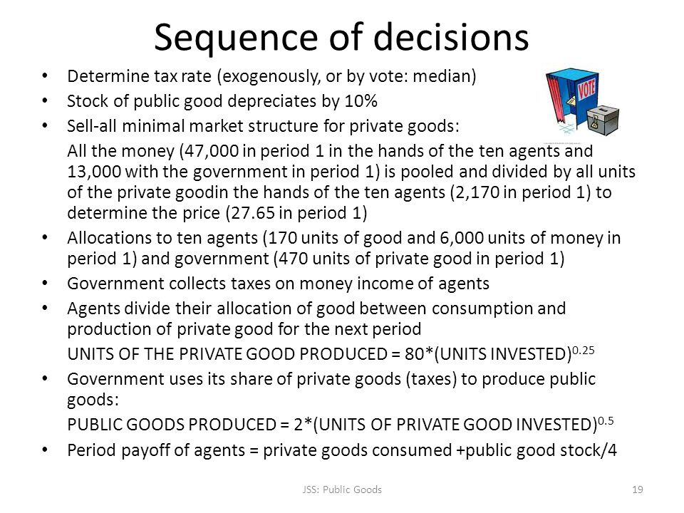Sequence of decisions Determine tax rate (exogenously, or by vote: median) Stock of public good depreciates by 10% Sell-all minimal market structure for private goods: All the money (47,000 in period 1 in the hands of the ten agents and 13,000 with the government in period 1) is pooled and divided by all units of the private goodin the hands of the ten agents (2,170 in period 1) to determine the price (27.65 in period 1) Allocations to ten agents (170 units of good and 6,000 units of money in period 1) and government (470 units of private good in period 1) Government collects taxes on money income of agents Agents divide their allocation of good between consumption and production of private good for the next period UNITS OF THE PRIVATE GOOD PRODUCED = 80*(UNITS INVESTED) 0.25 Government uses its share of private goods (taxes) to produce public goods: PUBLIC GOODS PRODUCED = 2*(UNITS OF PRIVATE GOOD INVESTED) 0.5 Period payoff of agents = private goods consumed +public good stock/4 JSS: Public Goods19