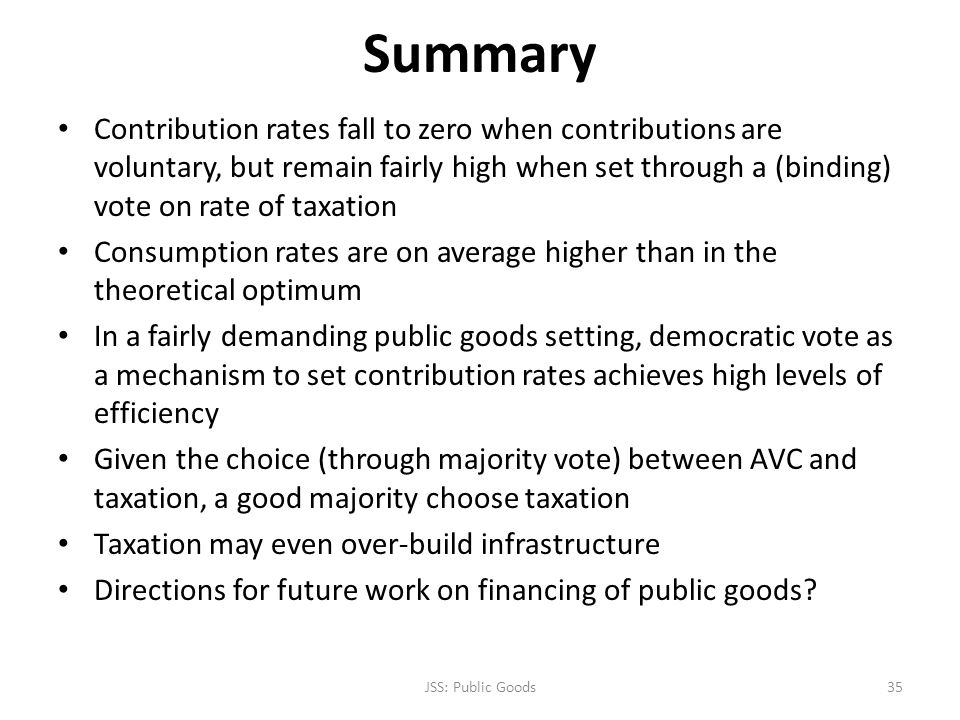 Summary Contribution rates fall to zero when contributions are voluntary, but remain fairly high when set through a (binding) vote on rate of taxation