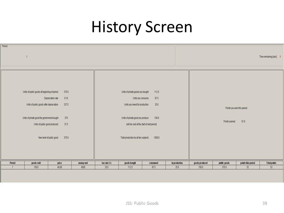 History Screen JSS: Public Goods39