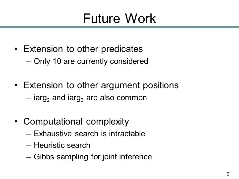 Future Work Extension to other predicates –Only 10 are currently considered Extension to other argument positions –iarg 2 and iarg 3 are also common Computational complexity –Exhaustive search is intractable –Heuristic search –Gibbs sampling for joint inference 21