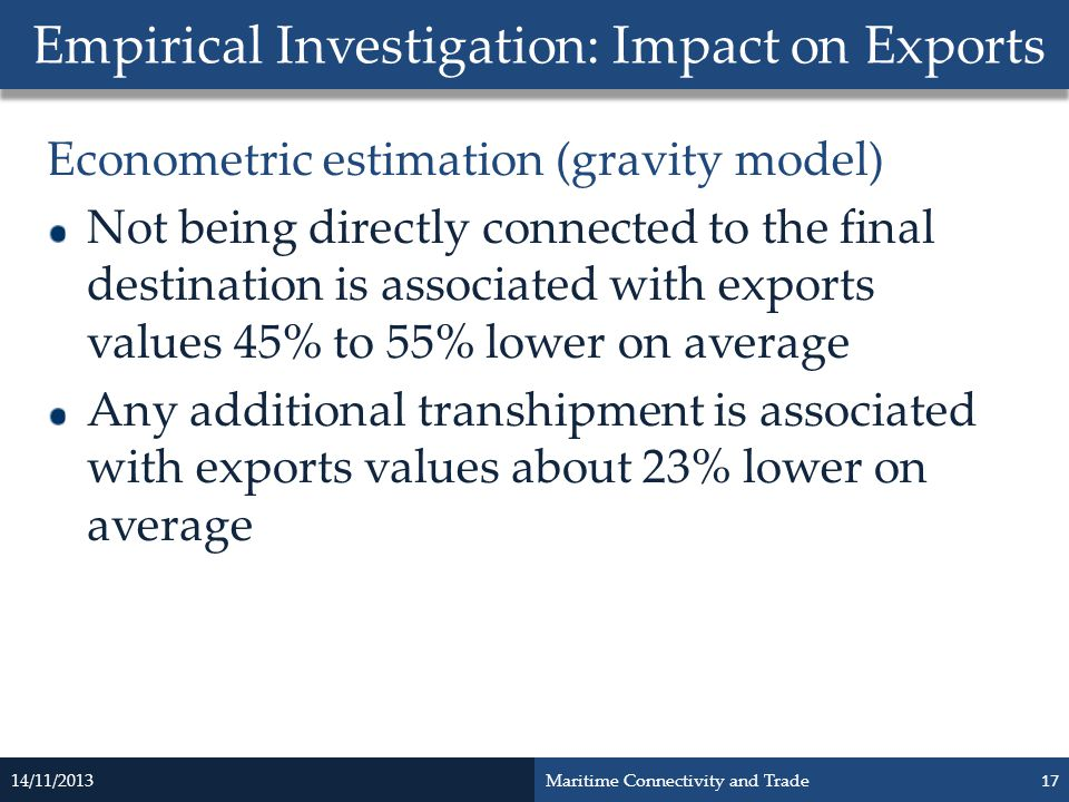 Econometric estimation (gravity model) Not being directly connected to the final destination is associated with exports values 45% to 55% lower on ave