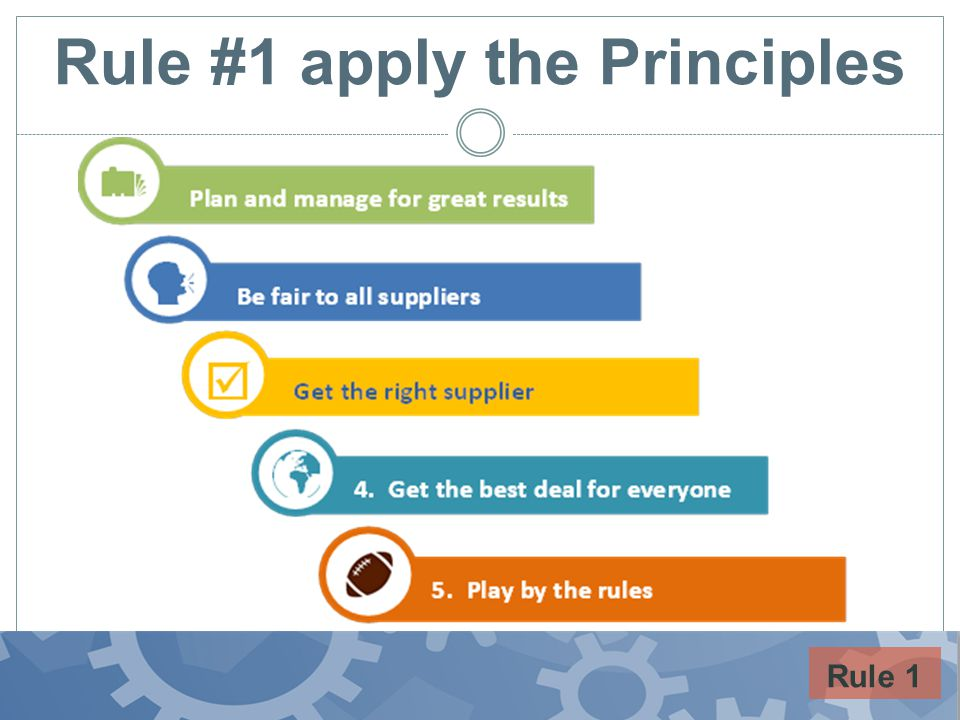 Rule #1 apply the Principles Rule 1