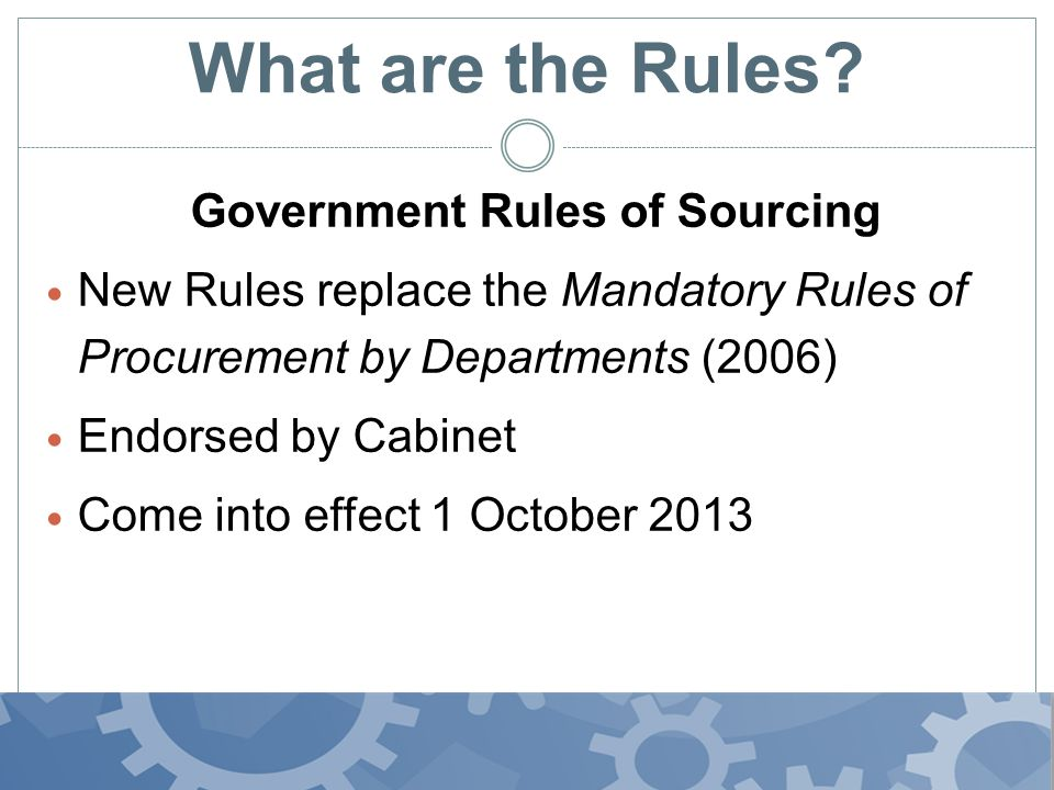 What do they cover? Focus mainly on the sourcing stages of the procurement lifecycle rules