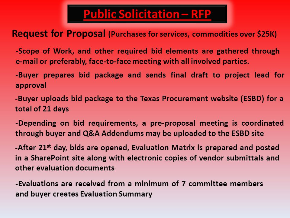 Public Solicitation – RFP Request for Proposal (Purchases for services, commodities over $25K) -Scope of Work, and other required bid elements are gathered through e-mail or preferably, face-to-face meeting with all involved parties.