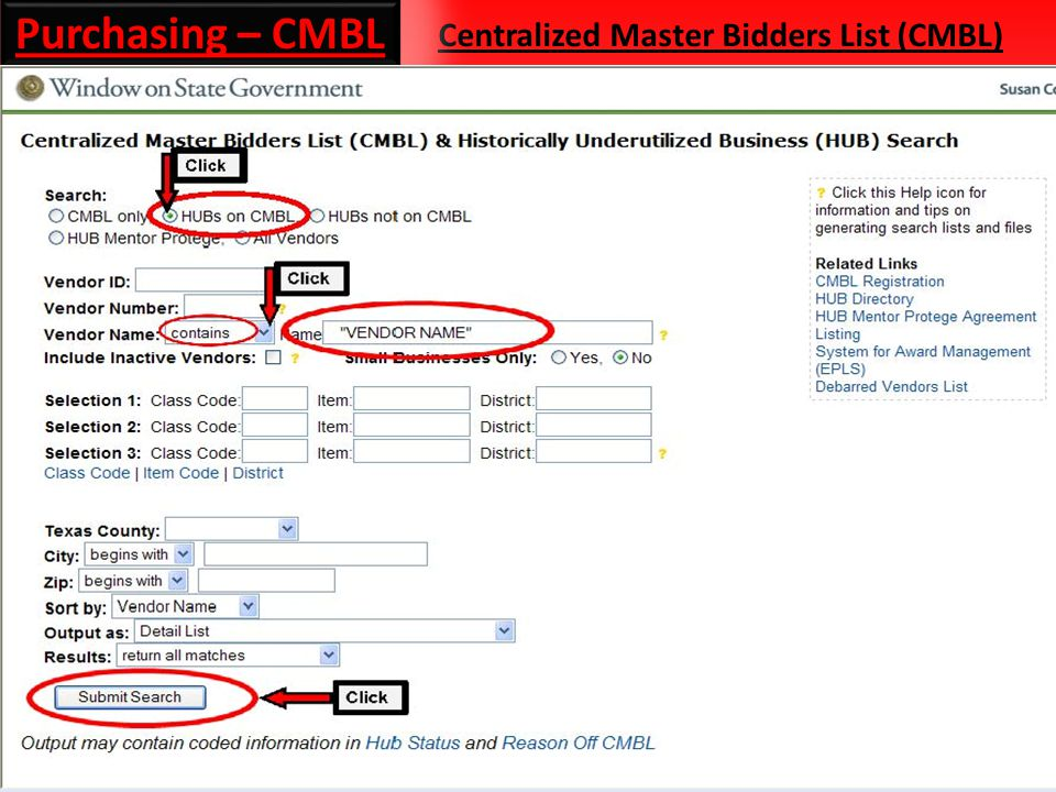 Centralized Master Bidders List (CMBL) Purchasing – CMBL