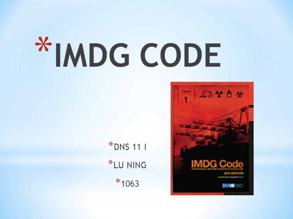 * IMDG CODE * DNS 11 I * LU NING * 1063
