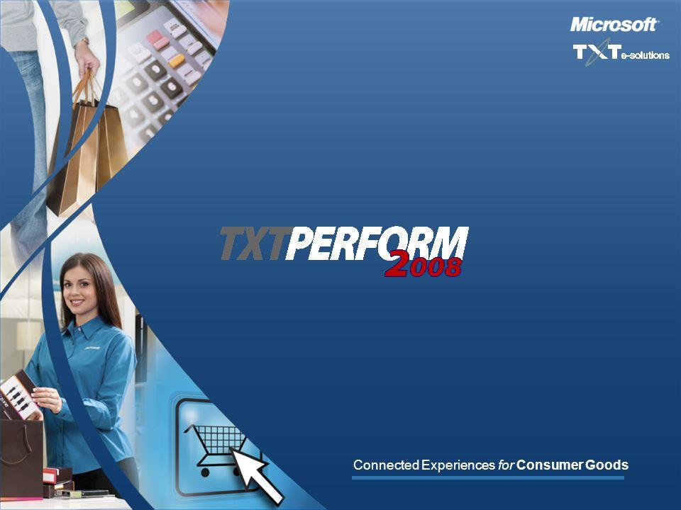 TXTPERFORM2008 Connected Experiences for Consumer Goods Contact Information Stefano Lena, VP Global Sales & Marketing E-mail: stefano.lena@txtgroup.com Phone: +1 646 715 2463 Phone: +39 348 2668624 www.txtgroup.com