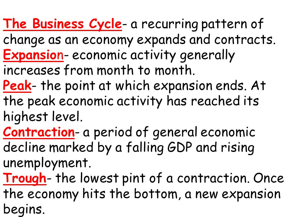 The Business Cycle- a recurring pattern of change as an economy expands and contracts.