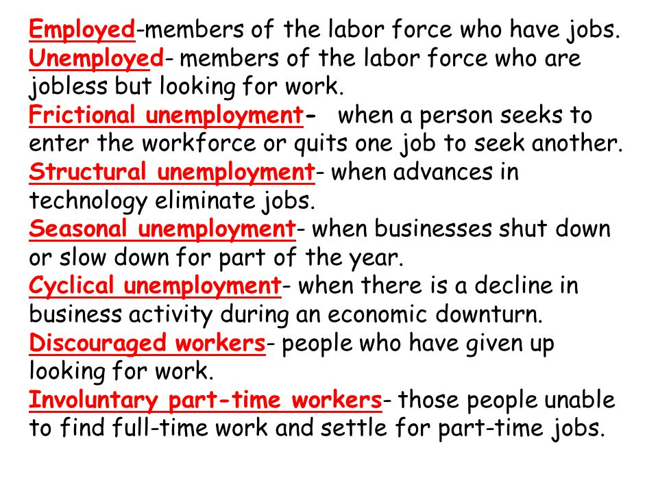Employed-members of the labor force who have jobs.