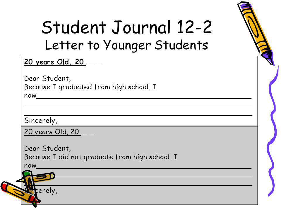 Student Journal 12-2 Letter to Younger Students 20 years Old, 20 _ _ Dear Student, Because I graduated from high school, I now_________________________________________________ ____________________________________________________ ____________________________________________________ Sincerely, 20 years Old, 20 _ _ Dear Student, Because I did not graduate from high school, I now_________________________________________________ ____________________________________________________ ____________________________________________________ Sincerely,