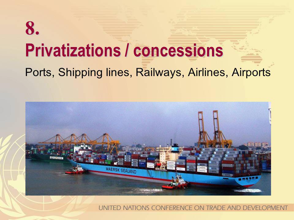8. Privatizations / concessions Ports, Shipping lines, Railways, Airlines, Airports