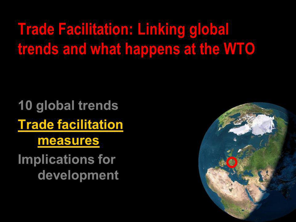10 global trends Trade facilitation measures Implications for development Trade Facilitation: Linking global trends and what happens at the WTO