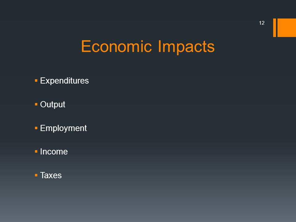 12 Economic Impacts Expenditures Output Employment Income Taxes