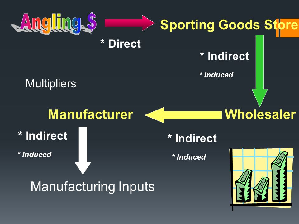 13 Sporting Goods Store WholesalerManufacturer Manufacturing Inputs * Direct * Indirect * Induced Multipliers