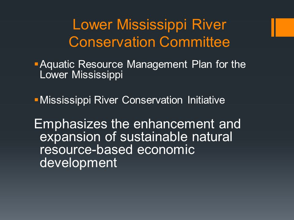Lower Mississippi River Conservation Committee Aquatic Resource Management Plan for the Lower Mississippi Mississippi River Conservation Initiative Emphasizes the enhancement and expansion of sustainable natural resource-based economic development