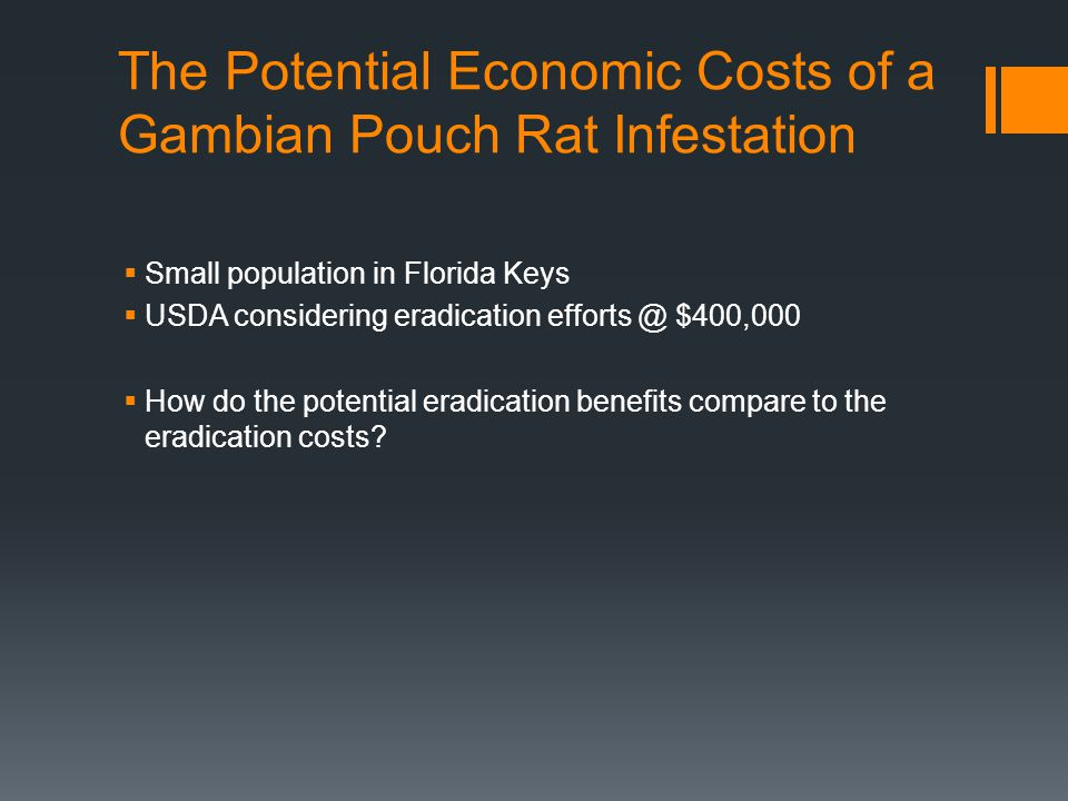 The Potential Economic Costs of a Gambian Pouch Rat Infestation Small population in Florida Keys USDA considering eradication efforts @ $400,000 How do the potential eradication benefits compare to the eradication costs