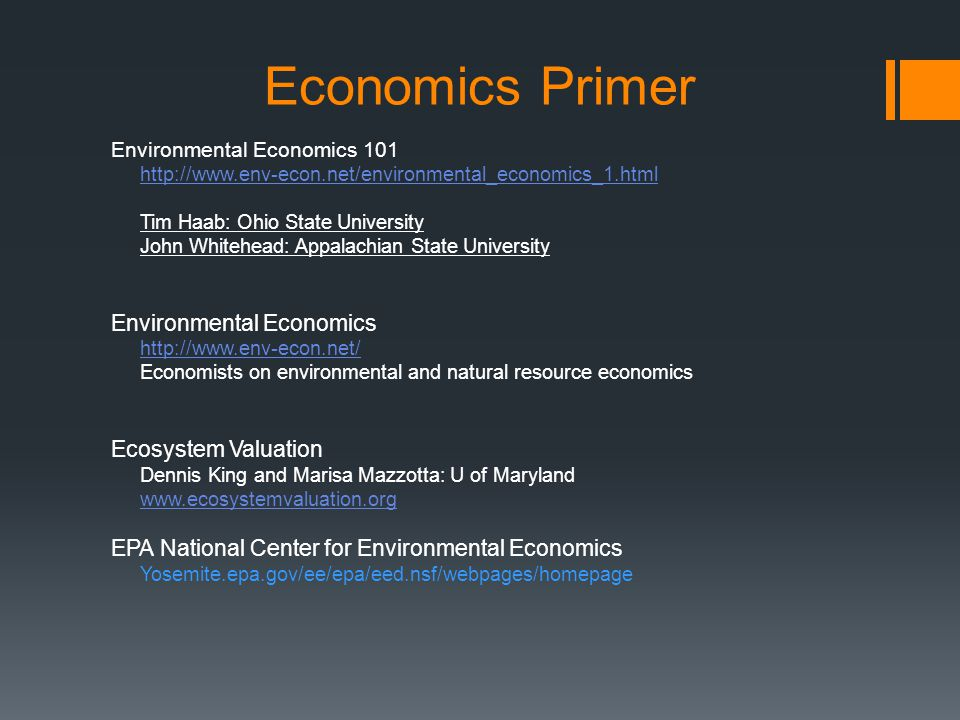 Economics Primer Environmental Economics Tim Haab: Ohio State University John Whitehead: Appalachian State University Environmental Economics   Economists on environmental and natural resource economics Ecosystem Valuation Dennis King and Marisa Mazzotta: U of Maryland   EPA National Center for Environmental Economics Yosemite.epa.gov/ee/epa/eed.nsf/webpages/homepage