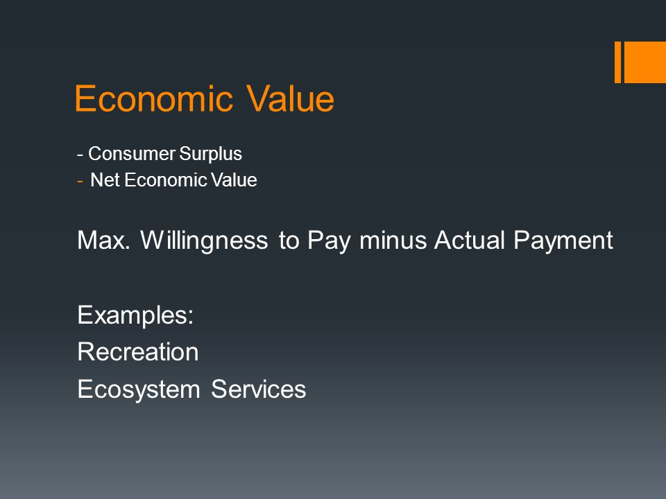 Economic Value - Consumer Surplus -Net Economic Value Max.