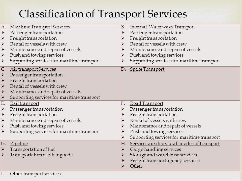 8 Classification of Transport Services A.Maritime Transport Services Passenger transportation Freight transportation Rental of vessels with crew Maintenance and repair of vessels Push and towing services Supporting services for maritime transport B.Internal Waterways Transport Passenger transportation Freight transportation Rental of vessels with crew Maintenance and repair of vessels Push and towing services Supporting services for maritime transport C.Air transport Services Passenger transportation Freight transportation Rental of vessels with crew Maintenance and repair of vessels Supporting services for maritime transport D.Space Transport E.Rail transport Passenger transportation Freight transportation Maintenance and repair of vessels Push and towing services Supporting services for maritime transport F.Road Transport Passenger transportation Freight transportation Rental of vessels with crew Maintenance and repair of vessels Push and towing services Supporting services for maritime transport G.Pipeline Transportation of fuel Transportation of other goods H.Services auxiliary to all modes of transport Cargo handling services Storage and warehouse services Freight transport agency services Other I.Other transport services