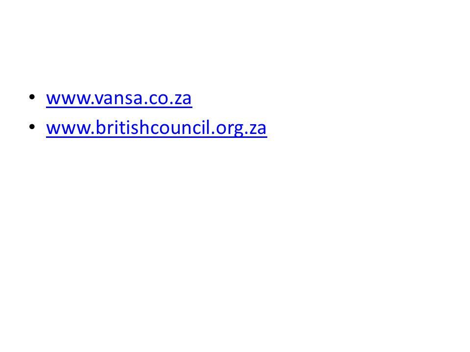 www.vansa.co.za www.britishcouncil.org.za