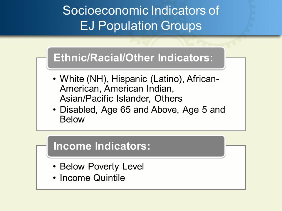 Socioeconomic Indicators of EJ Population Groups White (NH), Hispanic (Latino), African- American, American Indian, Asian/Pacific Islander, Others Disabled, Age 65 and Above, Age 5 and Below Ethnic/Racial/Other Indicators: Below Poverty Level Income Quintile Income Indicators: