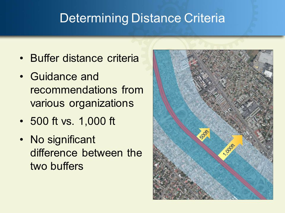 Determining Distance Criteria 1,000ft 500ft Buffer distance criteria Guidance and recommendations from various organizations 500 ft vs.