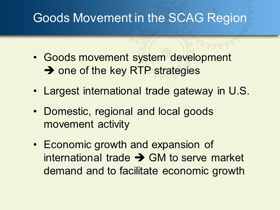 Environmental Concerns and Strategies Continuing increases in truck volumes Increasing environmental concerns in the region Strategies to reduce the impacts of the regional goods movement system on the environment and public health Strategies to improve or mitigate any disproportionate impacts to minority and low-income populations