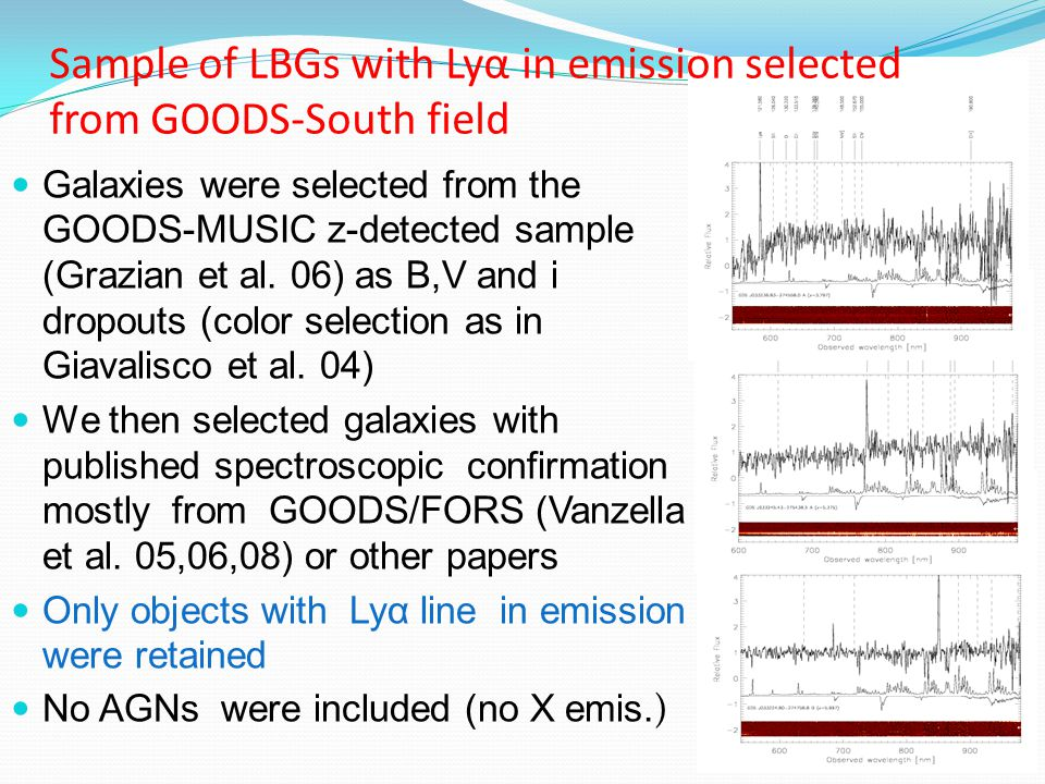 Examples of old Lyα emitters These objects clearly show a prominent Balmer break: SED modelling gives large best fit ages (1.1 Gyr & 0.7 Gyr) Considerably younger models can be ruled out with high confidence Both of them are bright Lyα emitters with EW >> 20 Å