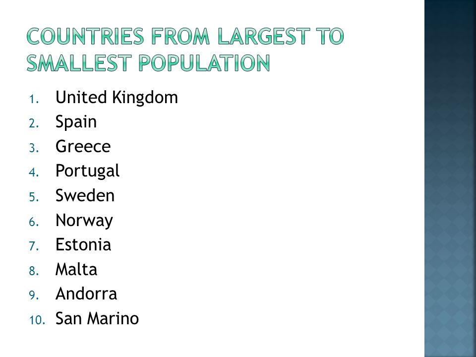 1. United Kingdom 2. Spain 3. Greece 4. Portugal 5.