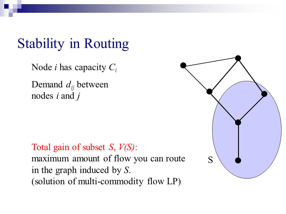 Stability in Routing Node i has capacity C i Demand d ij between nodes i and j Total gain of subset S, V(S): maximum amount of flow you can route in the graph induced by S.
