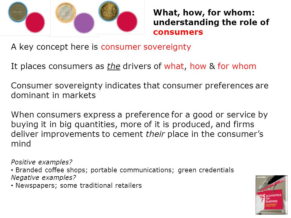 A key concept here is consumer sovereignty It places consumers as the drivers of what, how & for whom Consumer sovereignty indicates that consumer pre