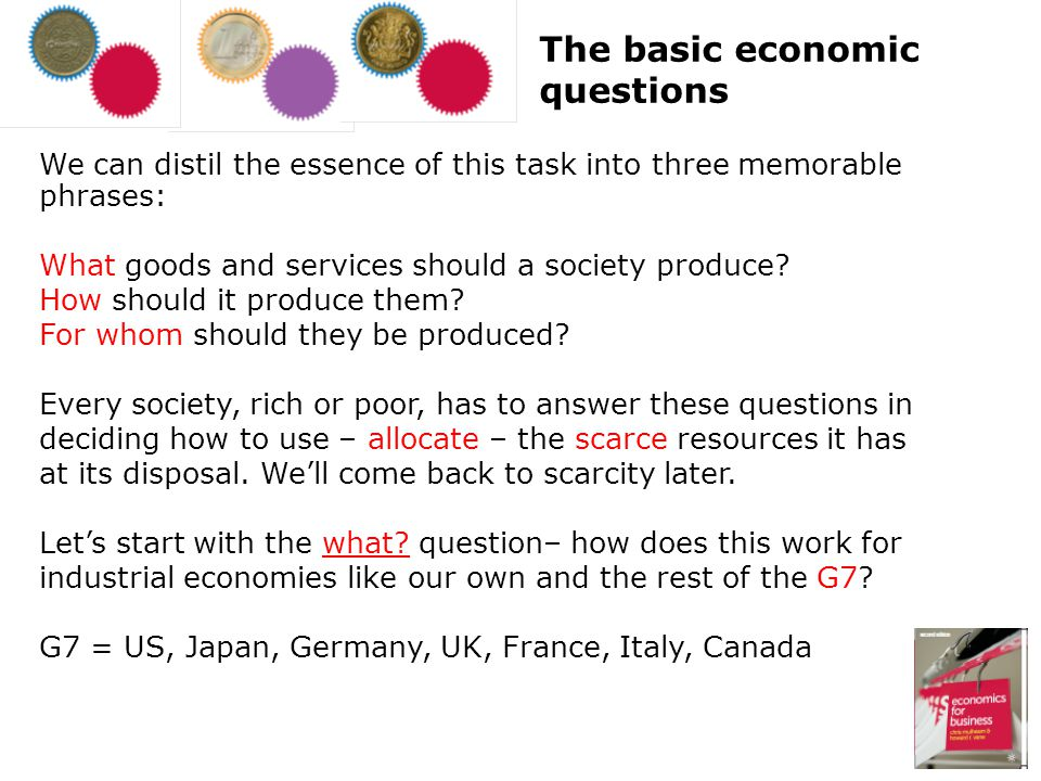 We can distil the essence of this task into three memorable phrases: What goods and services should a society produce? How should it produce them? For