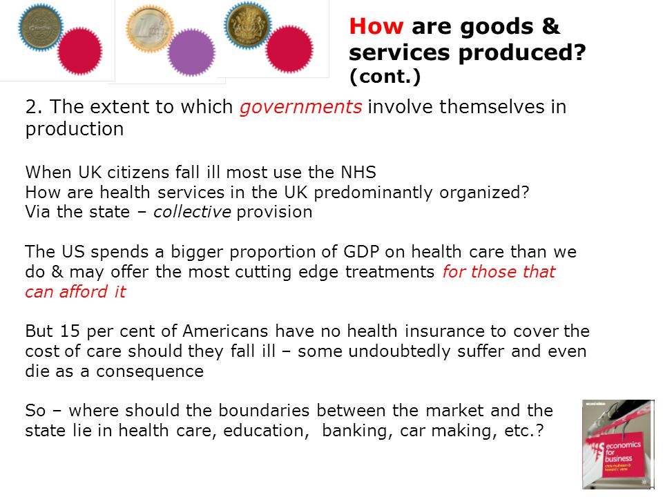This is often closely linked to the How question In the US, President Obama is controversially trying to change the How question in US healthcare; hes trying to partly collectivize healthcare to make it fairer But in changing the How question hes really after the For whom question Where the free market provides goods & services, access depends on ability to pay When the state gets involved, access is decided by other criteria such as, in the case of medicine, clinical need For whom are goods & services produced?