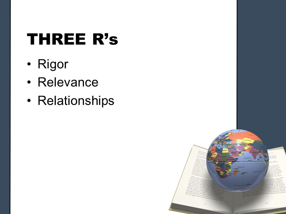 THREE Rs Rigor Relevance Relationships
