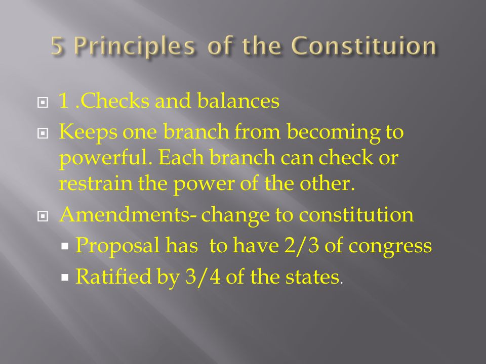 1.Checks and balances Keeps one branch from becoming to powerful.
