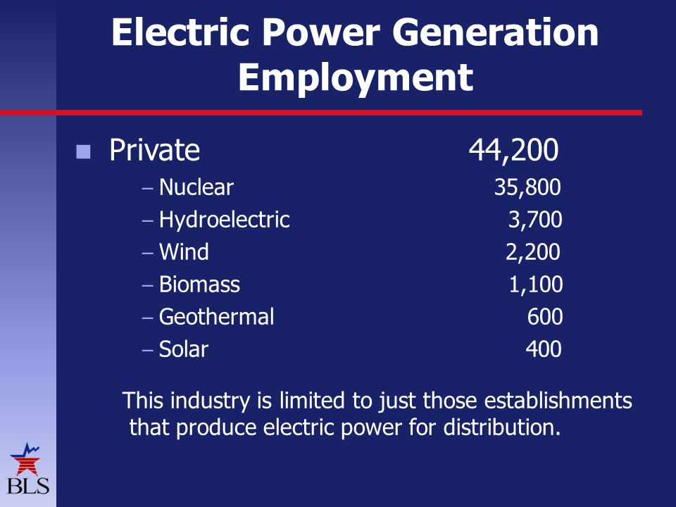 Electric Power Generation Employment Private 44,200 – Nuclear 35,800 – Hydroelectric 3,700 – Wind 2,200 – Biomass 1,100 – Geothermal 600 – Solar 400 T
