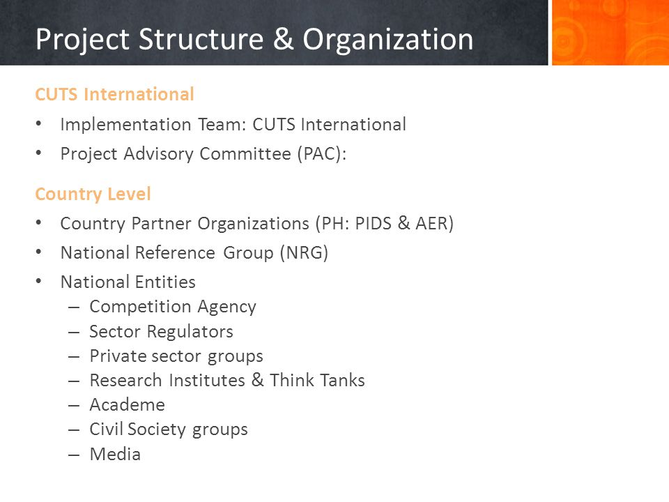 Project Structure & Organization CUTS International Implementation Team: CUTS International Project Advisory Committee (PAC): Country Level Country Partner Organizations (PH: PIDS & AER) National Reference Group (NRG) National Entities – Competition Agency – Sector Regulators – Private sector groups – Research Institutes & Think Tanks – Academe – Civil Society groups – Media