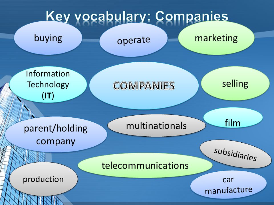 buying production Information Technology (IT) selling film telecommunications marketing car manufacture multinationals operate parent/holding company subsidiaries