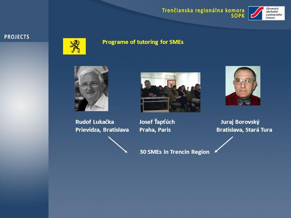 Programe of tutoring for SMEs Rudof Lukačka Josef Ťapťúch Juraj Borovský Prievidza, Bratislava Praha, Paris Bratislava, Stará Tura 30 SMEs in Trencin Region
