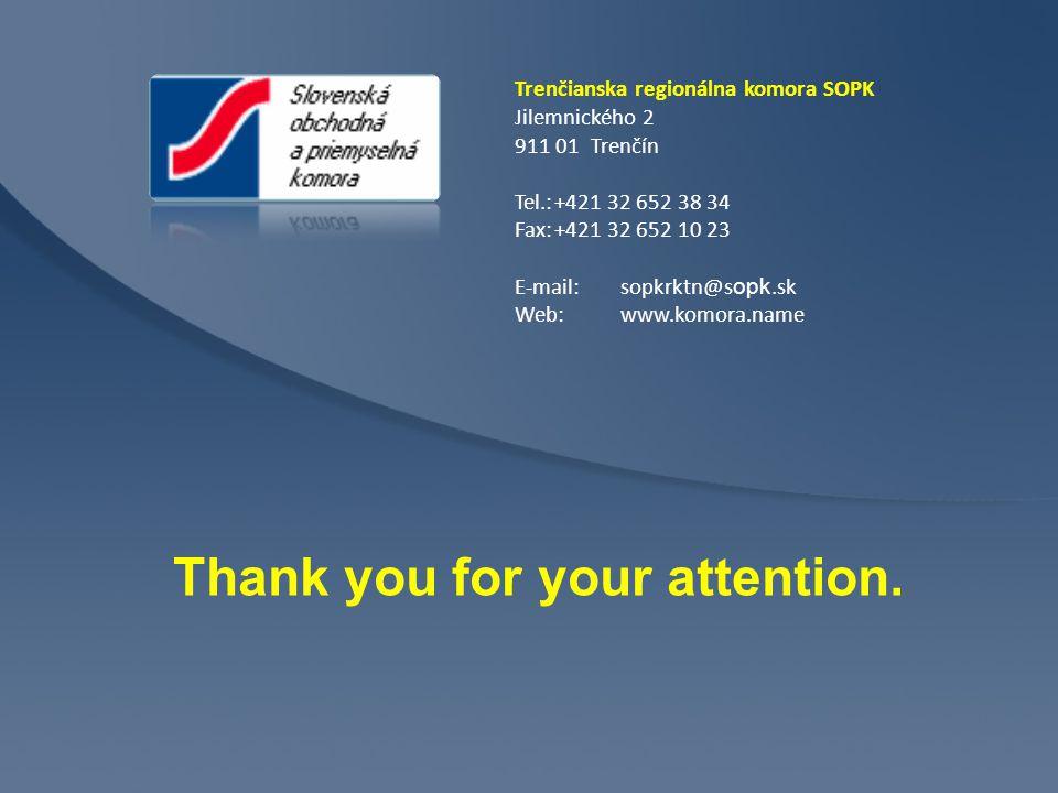 Trenčianska regionálna komora SOPK Jilemnického 2 911 01 Trenčín Tel.:+421 32 652 38 34 Fax:+421 32 652 10 23 E-mail:sopkrktn@s opk.sk Web: www.komora.name Thank you for your attention.
