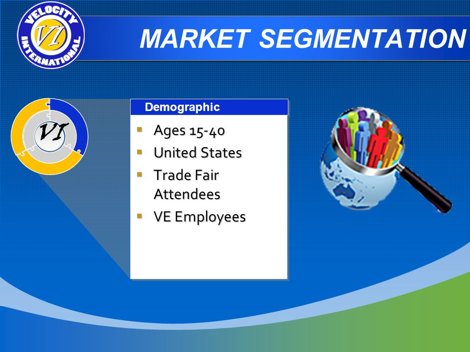 MARKET SEGMENTATION Demographic Ages Ages United States United States Trade Fair Attendees Trade Fair Attendees VE Employees VE Employees Ages Ages United States United States Trade Fair Attendees Trade Fair Attendees VE Employees VE Employees VI