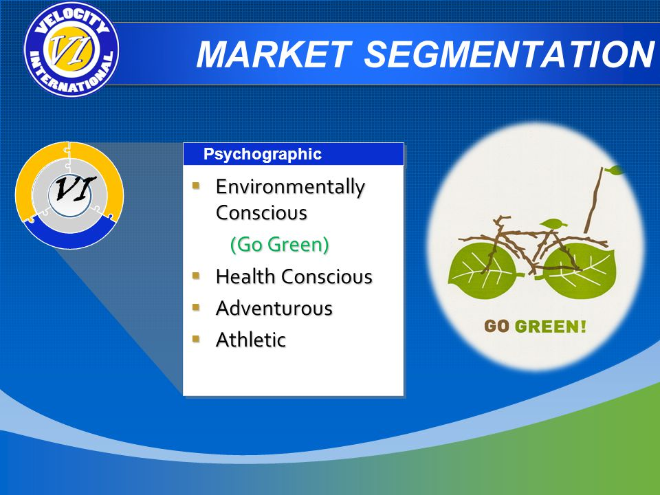 MARKET SEGMENTATION Psychographic Environmentally Conscious Environmentally Conscious (Go Green) (Go Green) Health Conscious Health Conscious Adventurous Adventurous Athletic Athletic Environmentally Conscious Environmentally Conscious (Go Green) (Go Green) Health Conscious Health Conscious Adventurous Adventurous Athletic Athletic VI