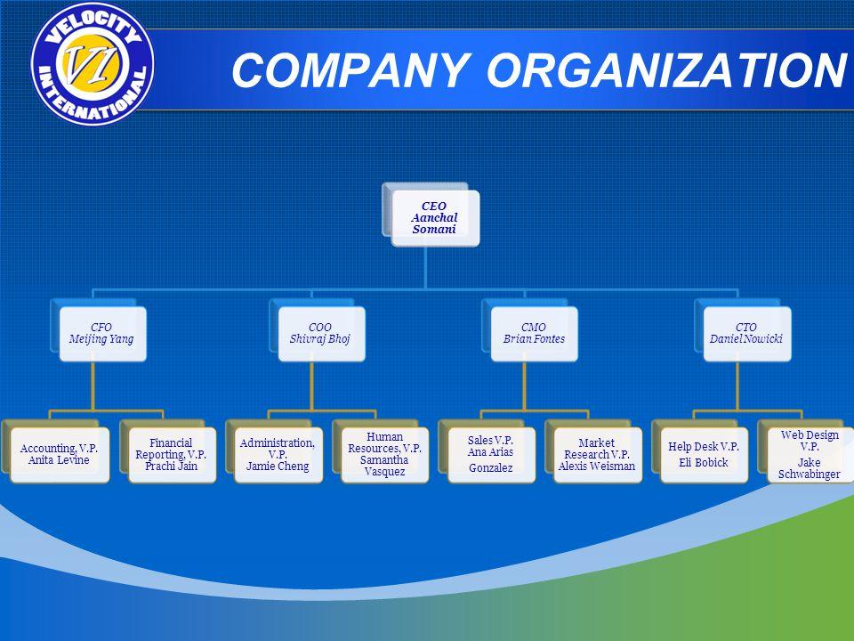 COMPANY ORGANIZATION CEO Aanchal Somani CFO Meijing Yang Accounting, V.P.